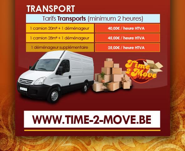 Tarifs transport avec camion et déménageur sur Bruxelles