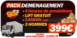 Pack Déménagement Bruxelles : lift gratuit, camion 30m², 3 hommes, 399€ pour 4h