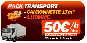 Pack transport Bruxelles camionnette 17m² et 2 hommes pour 50€/h